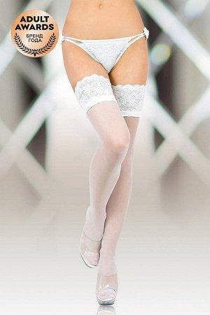 Чулки с широкой кружевной резинкой (с силик. полосками) SoftLine Collection, белый, ХL