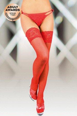 Чулки с широкой кружевной резинкой (с силик. полосками) SoftLine Collection, красный, ХL