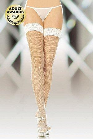 Чулки-сетка (c силик. полосками) SoftLine Collection, белый, XL