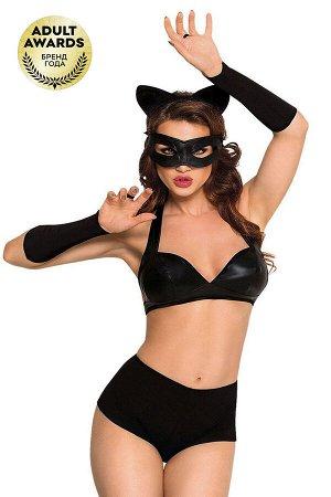 Костюм SoftLine Collection Catwoman (бюстгальтер,шортики,головной убор,маска,перчатки), черный, S