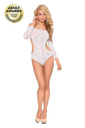 Боди с открытыми плечами и рукавами SoftLine Collection Rosa, белый, S/M
