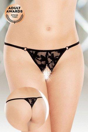 Стринги с ниткой из бусин SoftLine Collection, черный, S/L
