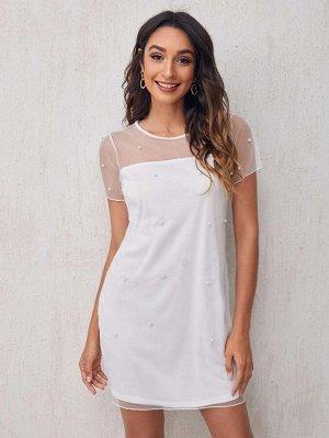 Сетчатое платье с жемчугом