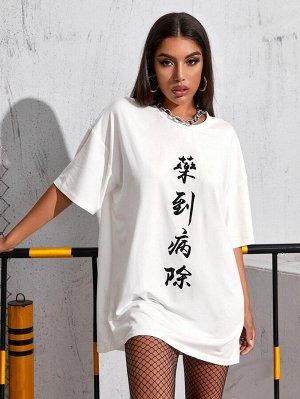 Платье-футболка с текстовым принтом