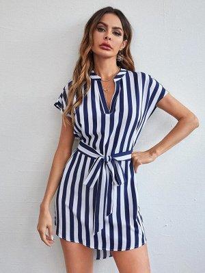 Асимметричное платье с поясом в полоску