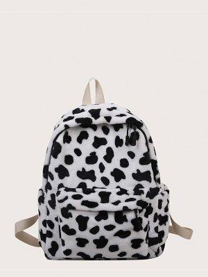 Плюшевый рюкзак с коровьим принтом
