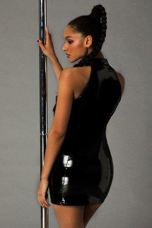 Платье лаковое на молнии и стринги Candy Girl Ariana черные, OS