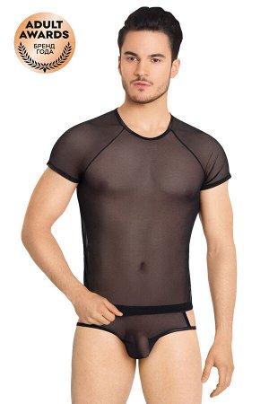 Костюм-сетка с вырезами по бокам мужской SoftLine Collection (майка, шорты), чёрный, XL