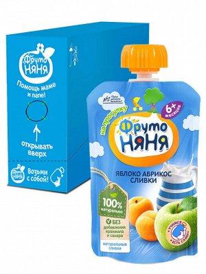 ФРУТОНЯНЯ Пюре 90г яблоко-абрикос-сливки без сахара большая упаковка 12 шт