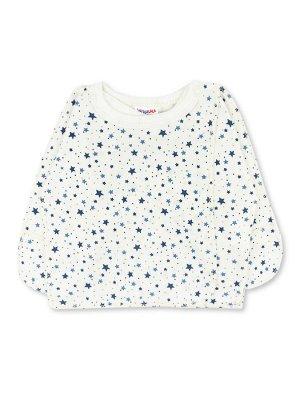 Распашонка ЦВЕТ: Белый, Синий; РИСУНОК: Звёзды; СОСТАВ: Хлопок 100%; МАТЕРИАЛ: Интерлок Очаровательная распашонка для малыша, изготовленная из 100% хлопка - интерлока. Распашонка застёгивается на кноп