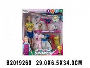 Кукла 300-53KJX Спортсменка с набором платьев и аксесс. в кор.