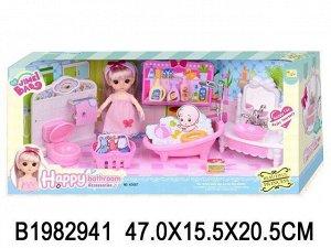 Кукла 0087K Женя в ванной комнате с аксесс. в кор.