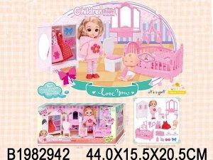 Кукла 0088K Женя в спальне с аксесс. в кор.