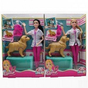 Кукла 103BKQ Camaner с собакой, рождение щенков, аксесс. в кор.