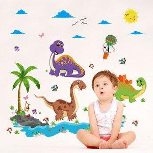 Наклейка многоразовая интерьерная «Динозавры» 90*60 см (1447)