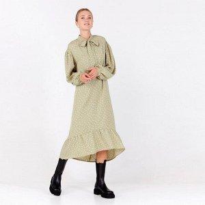 Платье женское в горох MINAKU: Green trend цвет зелёный, р-р 44