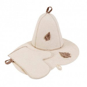 Комплект банный (шапка,рукавица,коврик), войлок