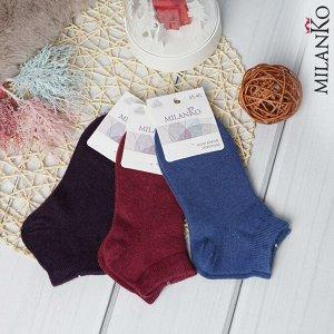 Женские шерстяные укороченные носки (цветные) MilanKo N-306
