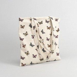"""Сумка текстильная """"Бабочки"""", отдел на молнии, без подклада, цвет молочный 2798245"""