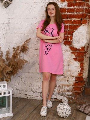 """Туника Цвет: розовый; Состав: Хлопок 100 %; Материал: Кулирка Стильная туника для девушек. Принт в виде """"пантеры"""" делает тунику интересной. Подойдет для отдыха и в качестве домашней одежды. Внимание!"""