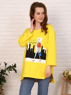 Толстовка Цвет: желтый; Состав: 70% хлопок, 25% п/э, 5% лайкра; Материал: Футер двухнитка Модная и стильная толстовка на девушек. Модель в стиле oversize с рукавом 3/4 и разрезами по бокам. Оригинальн