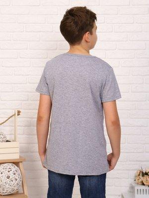 Футболка Цвет: серый; Состав: хлопок 59%, пэ 36%, лайкра 5%; Материал: Кулирка Легкая футболка на лето, с крутым принтом на мальчика. Сочетается с любой одеждой.