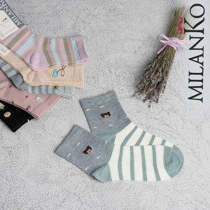 Женские носки из хлопка с рисунком MilanKo N-205