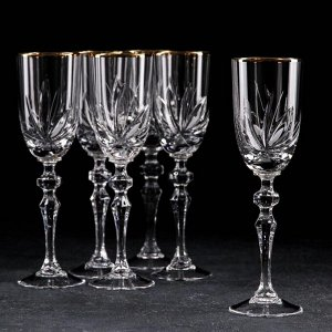 Набор бокалов для вина НЕМАН «Цветок», 6 шт, 160 мл, отводка золотом
