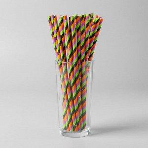 Трубочки для коктейля «Спираль цветная», набор 25 шт.