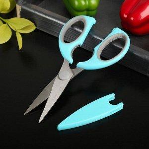 Ножницы кухонные Доляна «Эльба», 22 см, с чехлом для лезвий, цвет МИКС