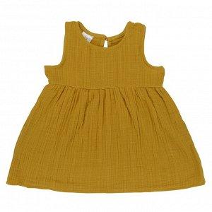 Платье без рукава из хлопкового муслина горчичного цвета из коллекции Essential 12-18M