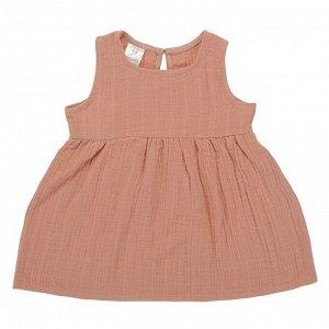 Платье без рукава из хлопкового муслина цвета пыльной розы из коллекции Essential 18-24M