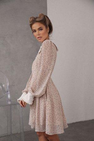 Платье из креп-шифона с отложным воротником и манжетами