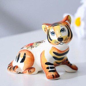 """Сувенир Тигр """"Тарзан"""", 10 см, гжель, цвет"""