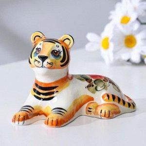 "Сувенир Тигр ""Зевс"", 14,5 см, гжель, цвет"