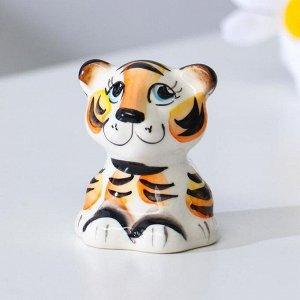 """Сувенир Тигр """"Макс"""". 5 см. гжель. цвет"""