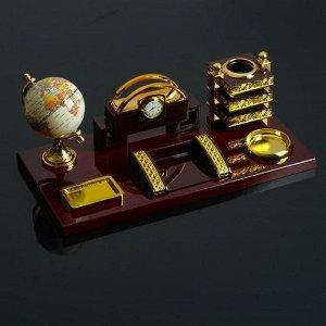 Набор настольный 6в1 (блок д/бумаг, подст. д/печати, карандашница, часы, визитница,глобус)