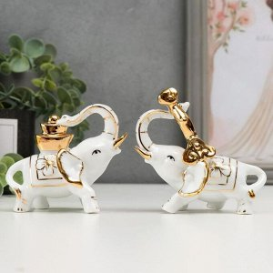 """Сувенир под фарфор """"Слоны с золотыми слитками"""""""