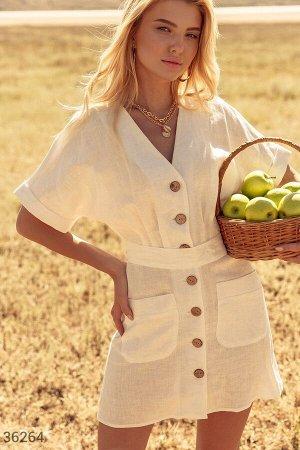 Льняное платье молочного оттенка