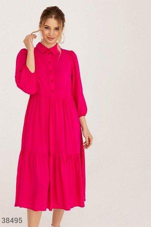 Хлопковое платье малинового оттенка