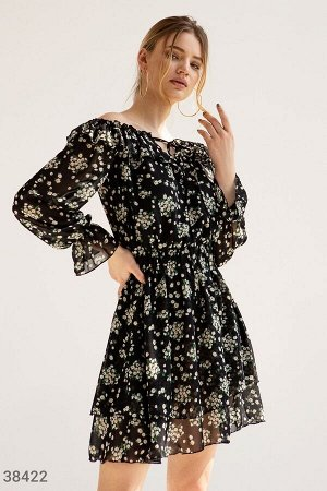 Шифоновое платье-мини с открытыми плечами