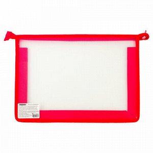 Папка для тетрадей А4 ПИФАГОР, пластик, молния сверху, прозрачная, красная, 228208