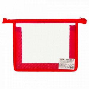 Папка для тетрадей А5 ПИФАГОР, пластик, молния сверху, прозрачная, красная, 228220