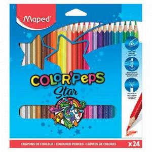 """Карандаши цветные MAPED (Франция) """"Color'Peps Star"""", 24 цвета, трехгранные, заточенные, европодвес, 183224"""
