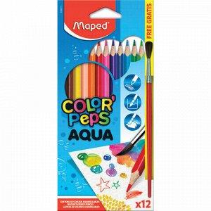 """Карандаши цветные акварельные MAPED (Франция) """"Color'Peps"""", 12 цветов + кисть, 2,9 мм, европодвес, 836011"""