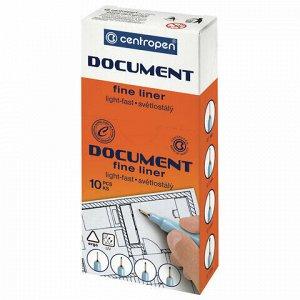 """Ручка капиллярная (линер) КРАСНАЯ CENTROPEN """"Document"""", трехгранная, линия письма 0,1 мм, 2631/0,1, 2 2631 0109"""