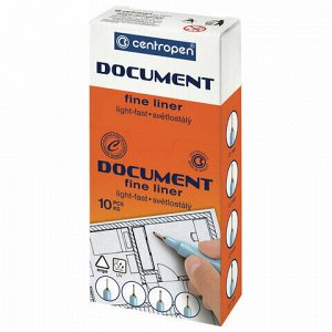 """Ручка капиллярная (линер) СИНЯЯ CENTROPEN """"Document"""", трехгранная, линия письма 0,1 мм, 2631/0,1, 2 2631 0110"""