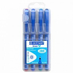 """Ручки капиллярные (линеры) 4 ЦВЕТА CENTROPEN """"Liner"""", корпус синий, линия письма 0,3 мм, 4621/4, 2 4621 0401"""