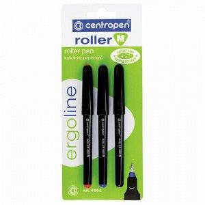 Ручки-роллеры 3 ЦВЕТА CENTROPEN, корпус черный, узел 0,7 мм, линия письма 0,6 мм, 4665/3, 3 4665 0302