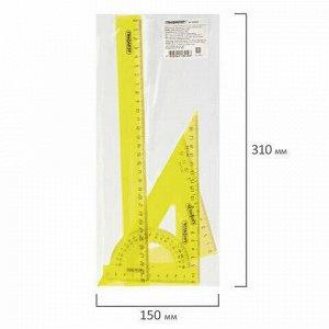 Набор чертежный большой ПИФАГОР (линейка 30 см, 2 треугольника, транспортир), прозрачный, неоновый, пакет, 210629